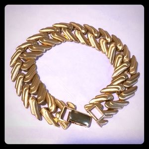 Vintage Monet matte gold finish link bracelet